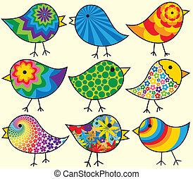 kilenc, madarak, színes
