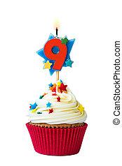 kilenc, szám, cupcake