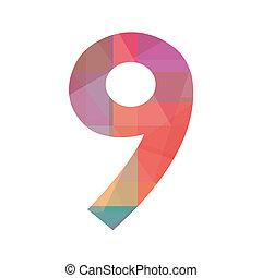 kilenc, szám, színes
