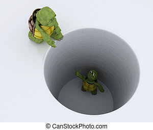 kilyukaszt, megragadt, teknősbéka, metafora