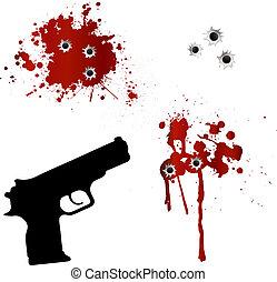kilyukaszt, pisztoly, lövedék, vér