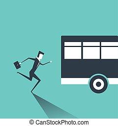 kimenő, ügy, után, futás, bus., illeszt, ember
