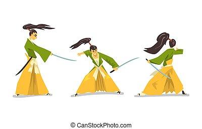 kimonó, ábra, katana, vektor, karikatúra, hagyományos, küzdelem, állhatatos, szamuráj, kard