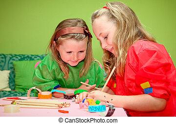 kindergarden, iskolások, hajó, gyártás, mosolygós, rajz, játék, osztály, boldog