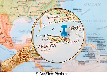 kingston, térkép, jamaica