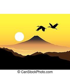 kinyúl, hegy, fujiyama, két, szent