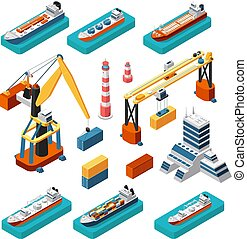 kinyúl, isometric, állhatatos, tenger, világítótorony, hajózás, elszigetelt, rév, hajó, vektor, munkaszervezési, tengeri, épület, tároló, 3