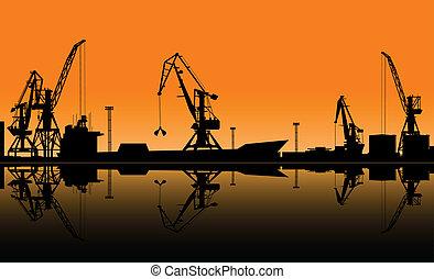 kinyúl, rakomány, tengeri kikötő, dolgozó, kirakodik