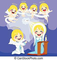 kinyilatkoztatás, angyalok, színhely, mária