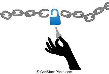 kinyit, kulcs, szabad, zár, lánc, személy, kéz