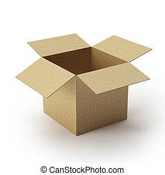 kinyitott, kartondoboz, doboz
