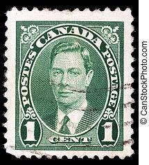 király, bélyeg, vi, (1895-1952), nyomtatott, kanada, portré, györgy, látszik