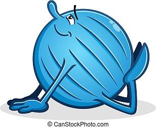 király cobra, labda, yoga színlel, karikatúra