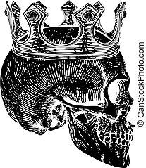 király, csontváz, királyi, emberi koponya, fárasztó, fejtető