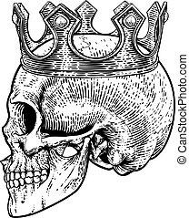 király, csontváz, koponya, királyi lombkorona, emberi