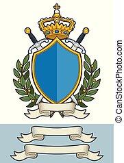 király, elágazik, -, fejtető, karikatúra, kard, olajbogyó, címer, felcsavar