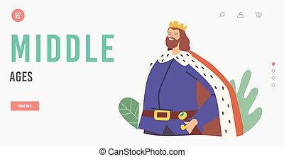 király, eltakar, fárasztó, évek, csípőre tett-, fejtető, középső, leszállás, kard, betű, fegyver, áll, template., oldal, öv