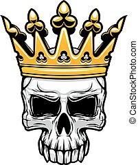 király, fejtető, királyi, arany, koponya