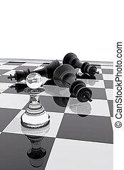 király, felett, sakkjáték, elzálogosít, diadal