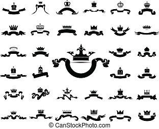 király, grafikus, állhatatos, árnykép, királyné, fejtető, elszigetelt, vektor, háttér, eps10, white szalag, ikon