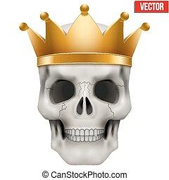 király, koponya, gold lombkorona, vektor, emberi