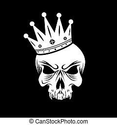 király, koponya, jel