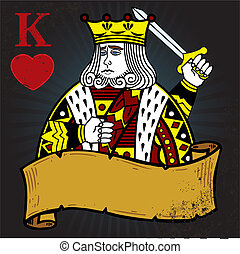 király, mód, tetovál, ábra, piros, transzparens
