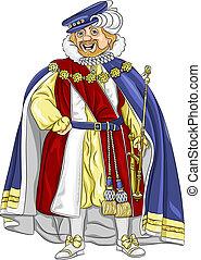 király, mosoly, fairytale, furcsa, vektor, karikatúra