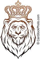 király, oroszlán, címertani, jelkép.