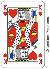 király, piszkavas, játék kártya, szív
