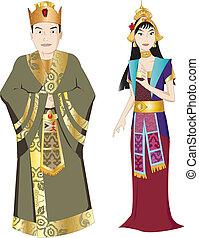 király, thai ember, királyné