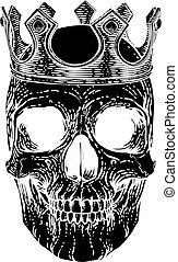 királyi, csontváz, fejtető, emberi, király, fárasztó, koponya