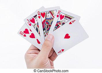 királyi, elszigetelt, háttér, pirul, kártya, fehér