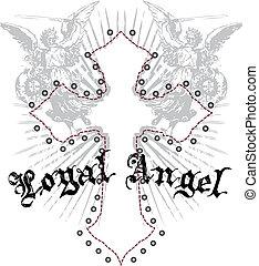 királyi emblem, kereszt, angyal