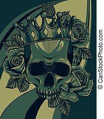 királyi, vektor, fejtető, kabala, koponya, király, ábra, rózsa