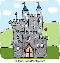 királyság, bástya, fairytale, mód, karikatúra