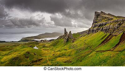 királyság, egyesült, öreg, storr, körképszerű, scottish highlands, ember, hegyek, kilátás