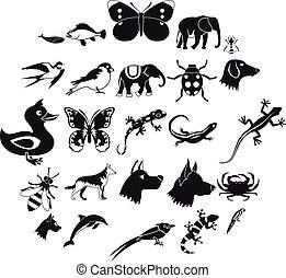 királyság, mód, ikonok, állhatatos, egyszerű, állat
