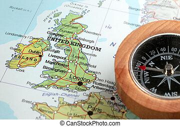 királyság, térkép, egyesült, utazás célállomás, írország, iránytű