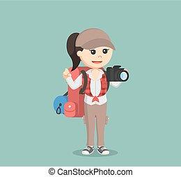 kiránduló, fényképezőgép, női, birtok
