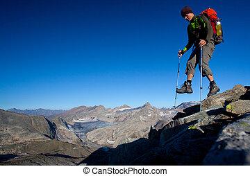 kiránduló, hegy, hátizsák, magas hegy