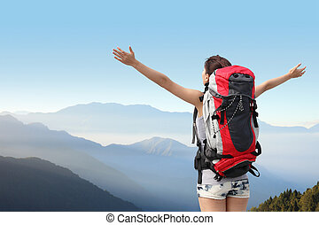 kiránduló, hegy, nő, boldog