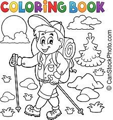 kiránduló, színezés, külső, könyv