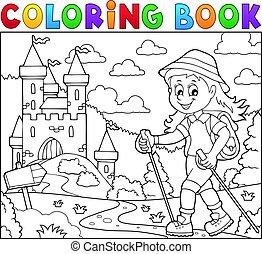 kiránduló, színezés, téma, nő, könyv