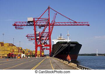 kirakodás, konténer, rév, kinyúl, hajó