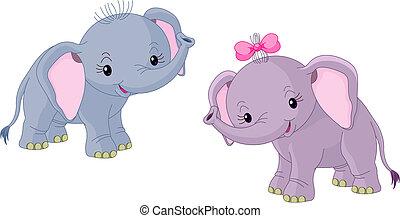 kisbabák, 2 elefánt