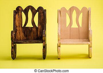 kisméretű, fából való, kézi munka, sárga, elnökké választ, háttér