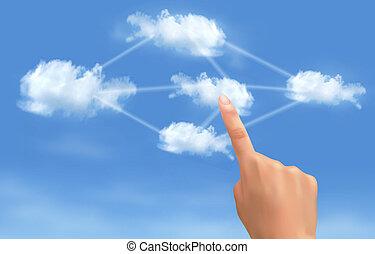 kiszámít, concept., kéz, megható, összekapcsolt, vector., clouds., felhő
