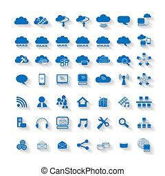 kiszámít, felhő, háló, hálózat, ikon