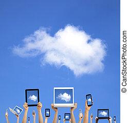 kiszámít, felhő, hatalom kezezés, furfangos, tabletta, érint, concept., telefon, számítógép, laptop, kipárnáz